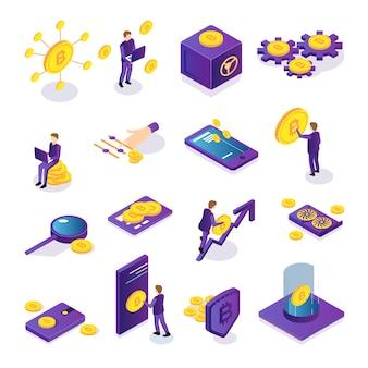 Izometryczny zestaw kolorowych ikon kryptowaluty z bezpieczną kartą bitcoins ludzi i urządzeń elektronicznych na białym tle