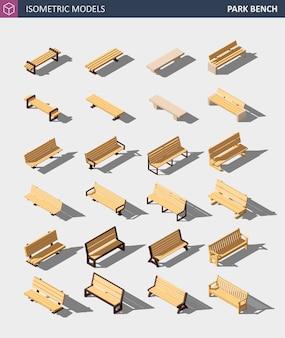 Izometryczny zestaw ławek w parku na świeżym powietrzu.