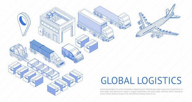 Izometryczny zestaw logistyki