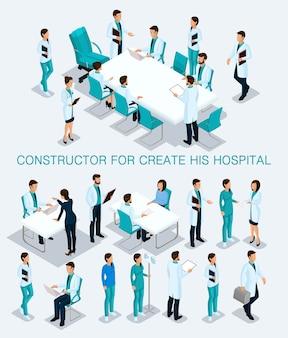 Izometryczny zestaw ludzi biznesu, aby utworzyć konsultację jego ilustracji w szpitalu