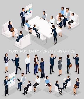 Izometryczny zestaw ludzi biznesu do tworzenia jego ilustracji ze spotkania i burzy mózgów