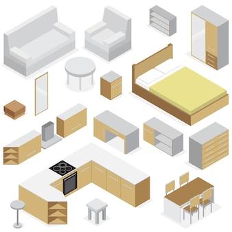 Izometryczny zestaw mebli domowych elementów do sypialni kuchni i wnętrza salonu na białym tle