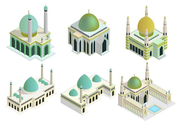 Izometryczny zestaw meczetów.