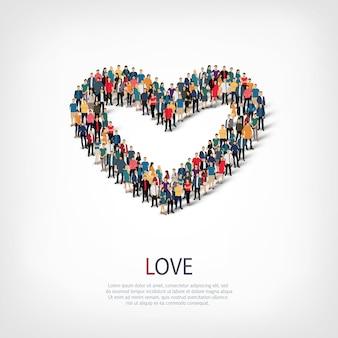 Izometryczny zestaw miłości, ilustracja koncepcja infografiki internetowej zatłoczonego placu. grupa punktów tłumu tworząca z góry określony kształt. kreatywni ludzie.