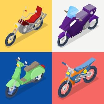 Izometryczny zestaw motocyklowy z rowerem górskim i skuterem