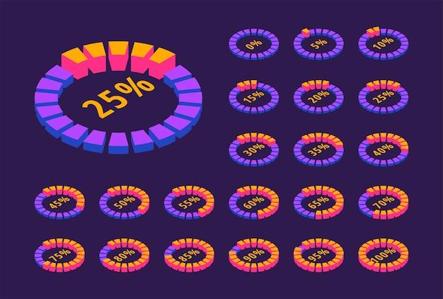 Izometryczny zestaw neonowy okrągły pasek postępu ładowania. 3d okrągłe ikony procentowe pobierania.