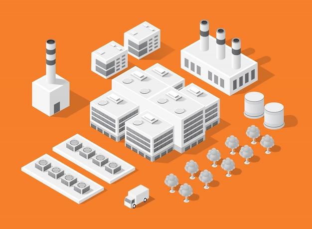 Izometryczny zestaw nowoczesnego miasta