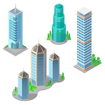 Izometryczny zestaw nowoczesnych budynków, miejskich drapaczy chmur, wysokich wież gospodarczych