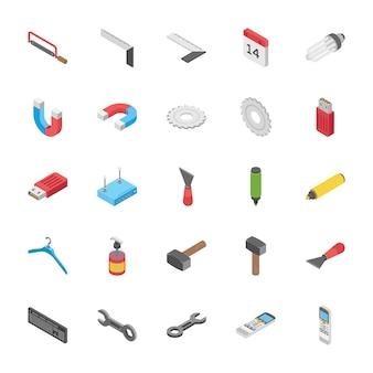 Izometryczny zestaw obiektów