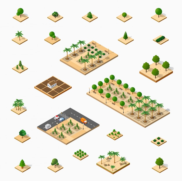 Izometryczny zestaw parków 3d