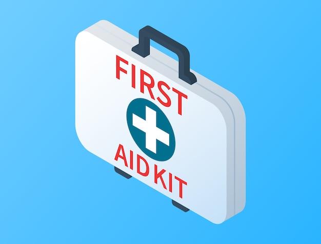 Izometryczny zestaw pierwszej pomocy na białym tle. badanie lekarskie. apteczka z wyposażeniem medycznym na wypadek awarii