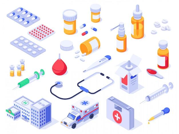 Izometryczny zestaw pierwszej pomocy. pigułki medyczne, leki apteczne i butelki leków. zestaw ambulansu szpitalnego