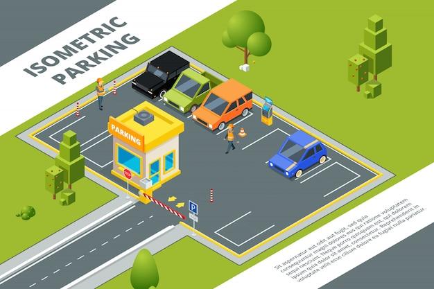 Izometryczny zestaw płatnego parkingu miejskiego z różnymi samochodami