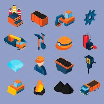 Izometryczny zestaw przemysłu węglowego