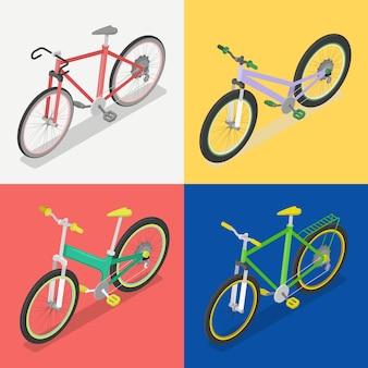 Izometryczny zestaw rowerowy z rowerem ekstremalnym i szosowym