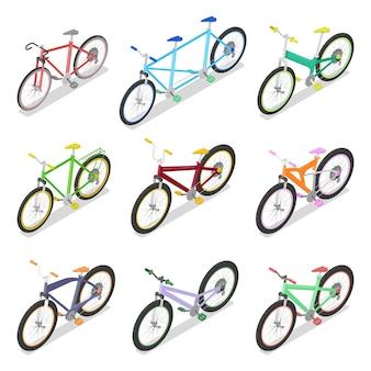 Izometryczny zestaw rowerowy z rowerem górskim i trójkołowym