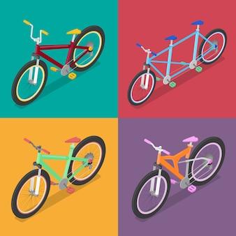 Izometryczny zestaw rowerowy z rowerem mountane i trójkołowcem