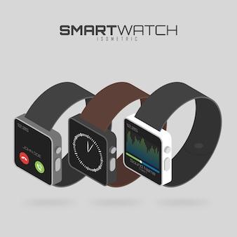 Izometryczny zestaw różnych rodzajów inteligentnych zegarków.