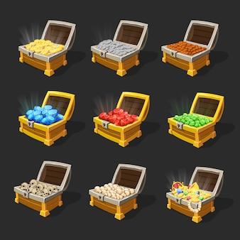 Izometryczny zestaw skrzyń skarbów