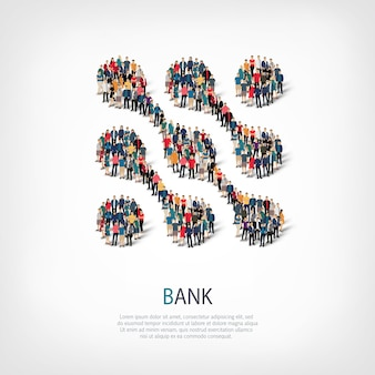 Izometryczny zestaw stylów abstrakcyjny symbol, bank, koncepcja infografiki internetowej zatłoczonego placu
