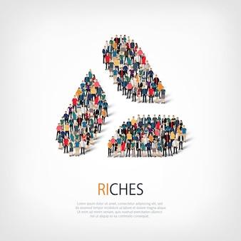 Izometryczny zestaw stylów, bogactwa, ilustracja koncepcja infografiki internetowej zatłoczonego placu. grupa punktów tłumu tworząca z góry określony kształt. kreatywni ludzie.