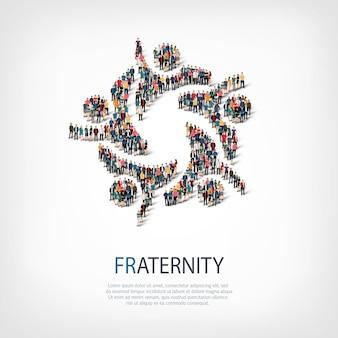 Izometryczny zestaw stylów, braterstwo, ilustracja koncepcja infografiki internetowej zatłoczonego placu. grupa punktów tłumu tworząca z góry określony kształt. kreatywni ludzie.