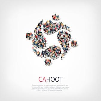 Izometryczny zestaw stylów, cahoot, ilustracja koncepcja infografiki internetowej zatłoczonego placu. grupa punktów tłumu tworząca z góry określony kształt. kreatywni ludzie.