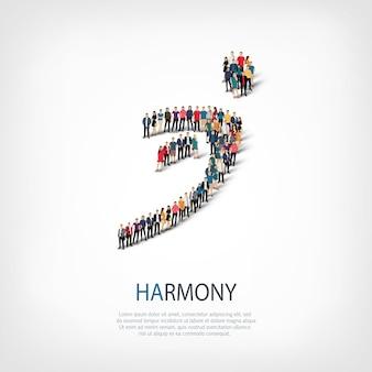 Izometryczny zestaw stylów, harmonia, ilustracja koncepcja infografiki internetowej zatłoczonego placu. grupa punktów tłumu tworząca z góry określony kształt. kreatywni ludzie.