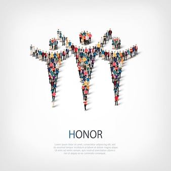 Izometryczny zestaw stylów, honor, ilustracja koncepcja infografiki internetowej zatłoczonego placu. grupa punktów tłumu tworząca z góry określony kształt. kreatywni ludzie.