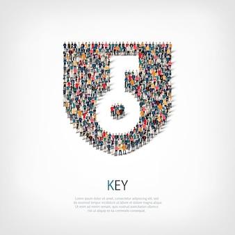 Izometryczny zestaw stylów, klucz, ilustracja koncepcja infografiki internetowej zatłoczonego placu. grupa punktów tłumu tworząca z góry określony kształt. kreatywni ludzie.