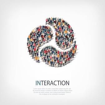 Izometryczny zestaw stylów koncepcja infografiki internetowej interakcji abstrakcyjnych symboli zatłoczonego placu