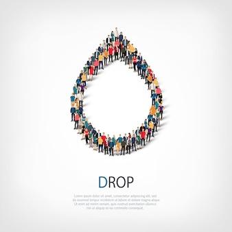 Izometryczny zestaw stylów, kropla, ilustracja koncepcja infografiki internetowej zatłoczonego placu. grupa punktów tłumu tworząca z góry określony kształt. kreatywni ludzie.