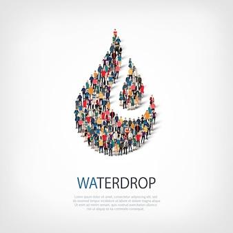 Izometryczny zestaw stylów, kropla wody, ilustracja koncepcja infografiki internetowej zatłoczonego placu. grupa punktów tłumu tworząca z góry określony kształt. kreatywni ludzie.