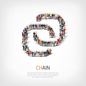 Izometryczny zestaw stylów, łańcuch, ilustracja koncepcja infografiki internetowej zatłoczonego placu. grupa punktów tłumu tworząca z góry określony kształt. kreatywni ludzie.