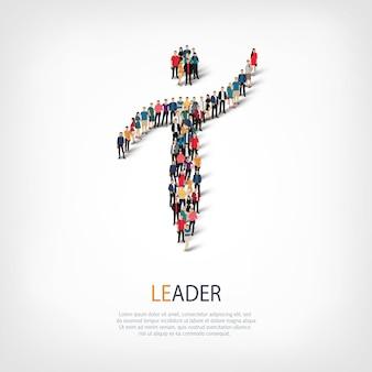 Izometryczny zestaw stylów, lider, ilustracja koncepcja infografiki internetowej zatłoczonego placu, płaskie 3d. grupa punktów tłumu tworząca z góry określony kształt. kreatywni ludzie.