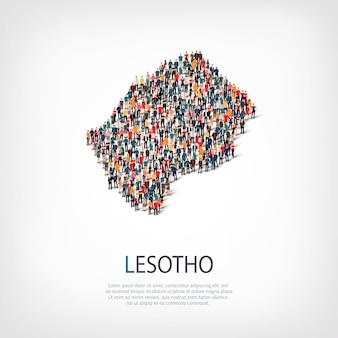 Izometryczny zestaw stylów, ludzi, mapa lesotho, kraj, koncepcja infografiki internetowej zatłoczonej przestrzeni. grupa punktów tłumu tworząca z góry określony kształt. kreatywni ludzie.