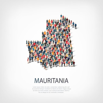 Izometryczny zestaw stylów, ludzi, mapa mauretanii, kraju, koncepcja infografiki internetowej zatłoczonej przestrzeni. grupa punktów tłumu tworząca z góry określony kształt. kreatywni ludzie.