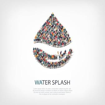 Izometryczny zestaw stylów, plusk wody, ilustracja koncepcja infografiki internetowej zatłoczonego placu. grupa punktów tłumu tworząca z góry określony kształt. kreatywni ludzie.