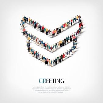 Izometryczny zestaw stylów, powitanie, ilustracja koncepcja infografiki internetowej zatłoczonego placu. grupa punktów tłumu tworząca z góry określony kształt. kreatywni ludzie.