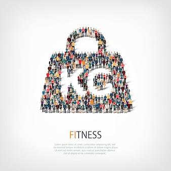 Izometryczny zestaw stylów streszczenie, fitness, symbol sieci web infografiki ilustracja koncepcja zatłoczonego placu. grupa punktów tłumu tworząca z góry określony kształt.