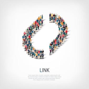 Izometryczny zestaw stylów streszczenie, link, symbol sieci web infografiki ilustracja koncepcja zatłoczonego placu, płaskie 3d. grupa punktów tłumu tworząca z góry określony kształt.