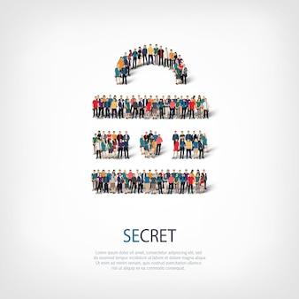 Izometryczny zestaw stylów streszczenie, sekret, symbol sieci web infografiki ilustracja koncepcja zatłoczonego placu. grupa punktów tłumu tworząca z góry określony kształt.