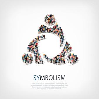 Izometryczny zestaw stylów, symbolika, ilustracja koncepcja infografiki internetowej zatłoczonego placu. grupa punktów tłumu tworząca z góry określony kształt. kreatywni ludzie.