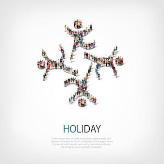 Izometryczny zestaw stylów, wakacje, ilustracja koncepcja infografiki internetowej zatłoczonego placu. grupa punktów tłumu tworząca z góry określony kształt. kreatywni ludzie.
