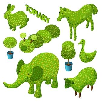 Izometryczny zestaw topiary w postaci zwierząt.