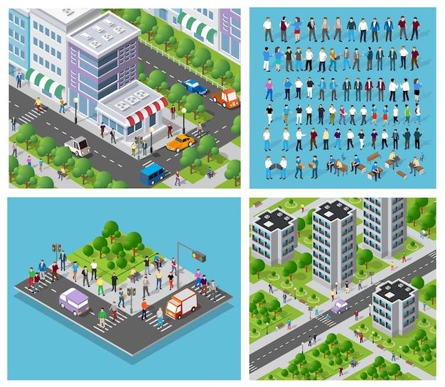 Izometryczny zestaw trójwymiarowej letniej dzielnicy miasta z zestawem ludzi. wieżowce, apartamenty, biura, domy i ulice z samochodami ruchu miejskiego z drzewami i przyrodą