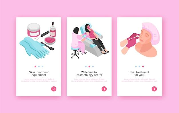 Izometryczny zestaw trzech banerów kosmetologa w