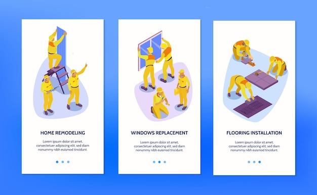 Izometryczny zestaw trzech pionowych banerów z ilustracją usługi naprawy domu