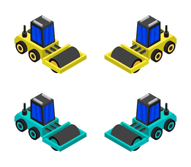 Izometryczny zestaw walców drogowych