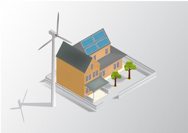 Izometryczny zielony dom przyjazny dla środowiska z panelem słonecznym i wiatrakiem.
